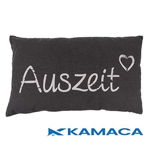 Kamaca AUSZEIT Kissen 30 cm x 50 cm Flauschig gefülltes Kissen mit Reißverschluss Bezug aus 100% Baumwolle EIN Hingucker und wertiges Geschenk (AUSZEIT GRAU)