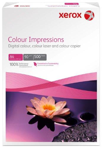 Xerox 003R97663 Premium Farblaser-Papier Druckerpapier, Colour Impressions, Din A4, 90 g/m², 500 Blatt, Farblaser- und Inkjetdruckern, weiß