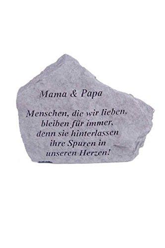 Gedenkstein 'Mama & Papa...' aus Steinguss 18 x 14 cm Grabschmuck