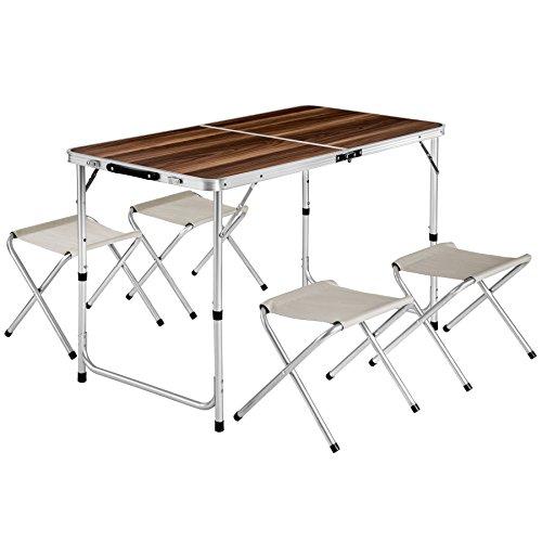 TecTake Koffertisch mit 4 Sitzhocker Campingmöbel Set Aluminium | Totalmaße geklappt 61x61x6,5 cm