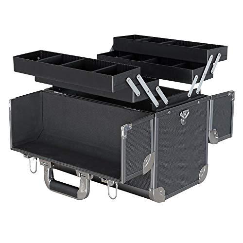 HMF 14902-02 Werkzeugkoffer leer, Alu Angelkoffer, individuelle Trennwände, 36,5 x 35 x 22 cm