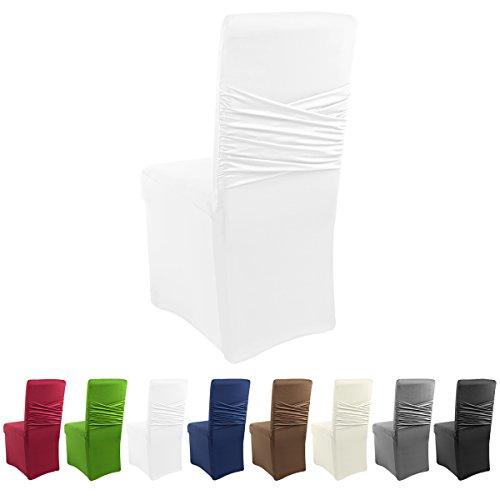 Gräfenstayn Strech-Stuhlhusse Victoria mit eingearbeiteter Schleife - verschiedene Farben für runde und eckige Stuhllehnen bi-elastische Passform mit Öko-Tex Siegel Standard 100 30470 (Weiß)
