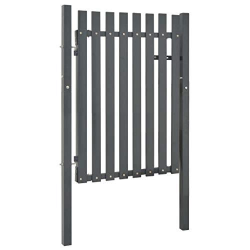 Festnight- Metall Gartentor Zauntor | Gartentür Hoftür Einzeltor | Tür für Garten Terrasse Hof, Stahl 103 x 125 cm Anthrazitgrau