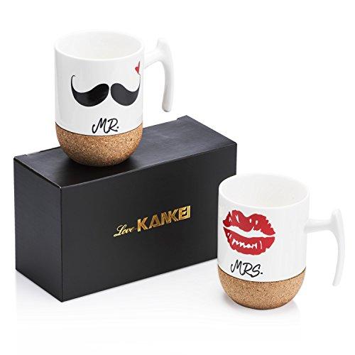 Love-KANKEI MR & MRS Kaffeetassen Kaffeebecher Set mit Korkboden, Porzellan, 300ml, Ideales Geschenk für Hochzeit, Jubiläum und Weihnachten