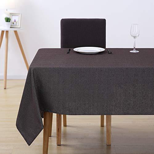 Deconovo Tischdecke Wasserabweisend Tischwäsche Lotuseffekt Tischtücher 140x240 cm Braun