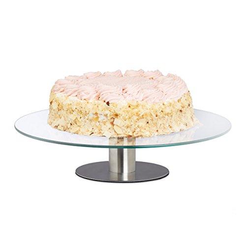 Relaxdays drehbarer Tortenteller mit Standfuß, Glasplatte zum Dekorieren, Tortenständer für Kuchen, Ø 30 cm, transparent