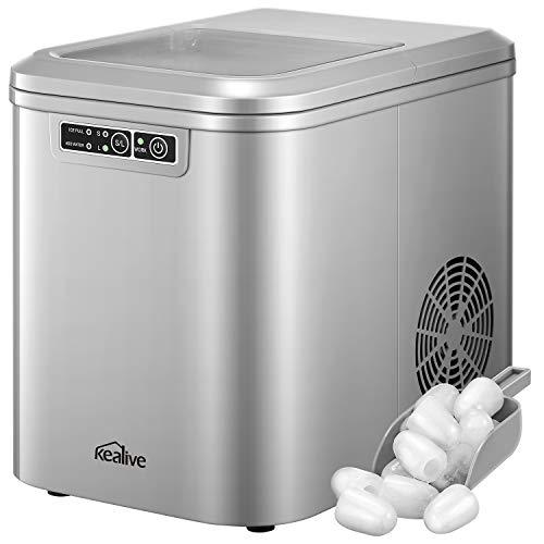 Kealive Eiswürfelmaschine | Eismaschine | Produktionszeit 6 - 12 Minuten | 12kg-15kg Eis pro Tag | 2 Eiswürfel-Größen | 2.2L Wassertank | LED Anzeige