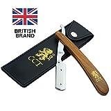 Das Cambridge Cut Throat Barbier-Rasiermesser zum Einklappen, Set mit Reisetasche und Tasche aus natürlicher Baumwolle, Geschenke für Männer, Pflegegeschenk