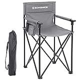 SONGMICS Campingstuhl, klappbarer Outdoor Stuhl, Regiestuhl mit hoher Sitzfläche, mit 3 Taschen, für Visagisten, Friseur, hoch belastbar, max. Belastbarkeit 150 kg (56,5 x 56,5 x 96 cm, Grau)