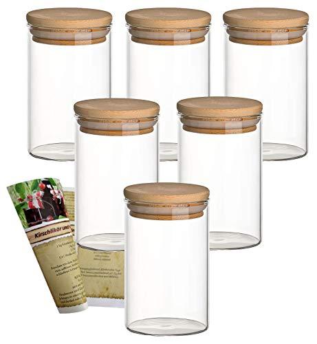 gouveo Set Glasbehälter aus Borosilikatglas mit Bambus-Deckel, Vorratsgläser, Gewürzgläser, Glasdosen, Vorratsdose