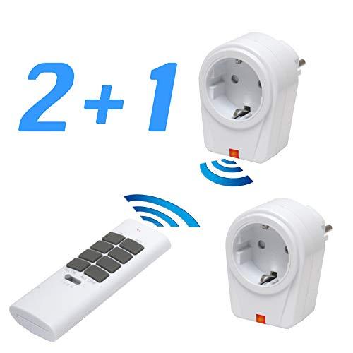 solidBASIC - Funk Schalter Steckdosen Set : 2 x Funksteckdosen + 1 x Fernbedienung   4-Kanal Plug & Play Funkschalt-Set - WEIß