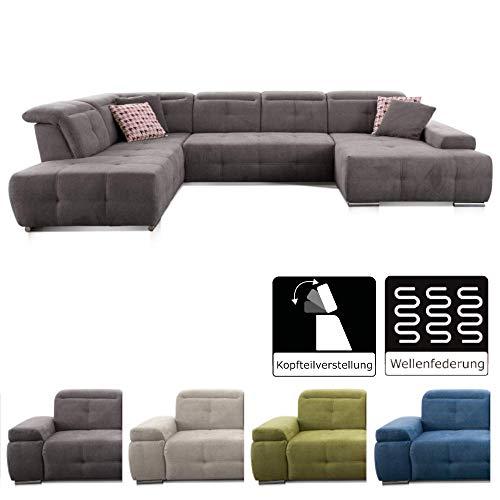 CAVADORE Wohnlandschaft Mistrel mit Longchair rechts und Ottomane links / Großes Sofa in U-Form / Inkl. Kopfteilfunktion / 343 x 77-93 x 228 / Dunkelgrau