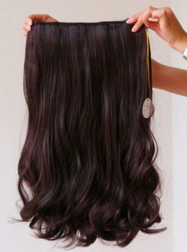 Magik 3/4 Voller Kopf-Haar-Verlängerungen Klipp Gerade lockig m/5 Clips, Lang (Dunkelbraun-Lockig)