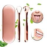 Zungenreiniger Zungenschaber Xpassion medizinischer Zungenreiniger aus Edelstahl gegen Mundgeruch und für Frischer Atem mit Etui für Mundpflege rosagold 2 Stück