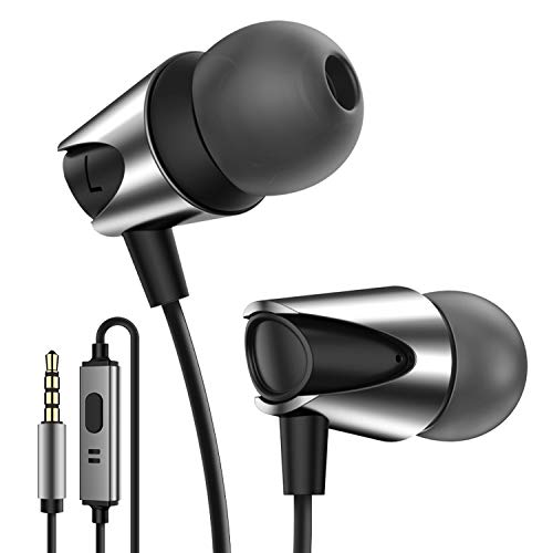 Kuulaa Wired In Ear Kopfhörer, Ear Ohrhörer Kopfhörer in Ears Headset Audio Kopfhörer Earphones mit Ohrstöpseln und Mikrofon für iOS, Andriod, 3.5mm Gerät (Schwarz)