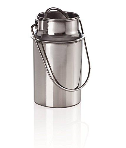 Milchkanne Transportkanne Kanne Edelstahlkanne 3,0 Liter mit Steckdeckel und Tragebügel