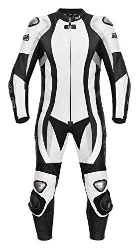 Lederkombi von XLS als Einteiler in schwarz weiß hochwertige zweiteilige Motorradkombi