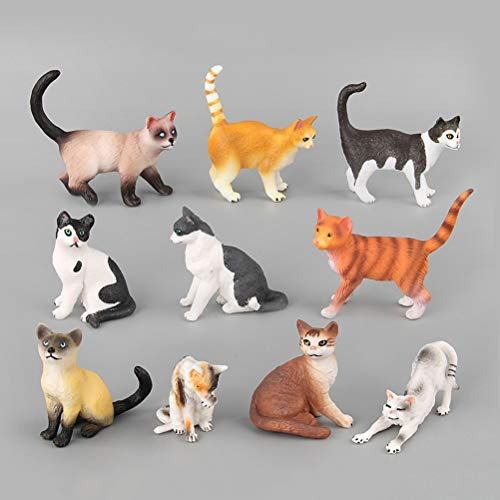 TOYMYTOY Katzenfiguren Spielzeug | Realistische Plastik Tier Miniaturen, 10er Pack