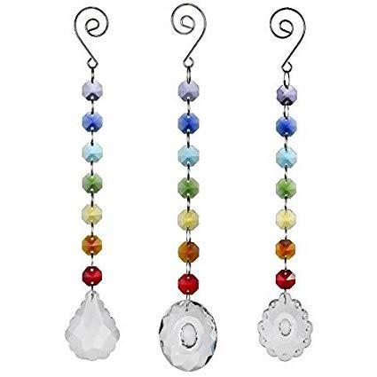 H&D Glas Kristall Oval Prism Rainbow Maker Chakra Aufhängen Suncatcher Sonne cacther mit Ocatgon Perlen für Geschenk, 3Stück