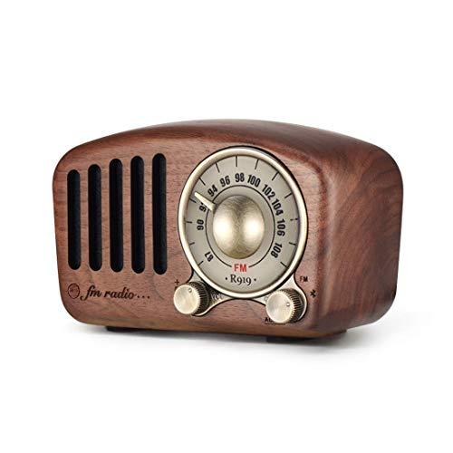 Vintage Radio Retro Bluetooth Lautsprecher, Radio aus Walnussholz mit klassischem Stil, tragbares Radio Starke Bassverstärkung, Laute Lautstärke, Bluetooth 4.2, AUX TF-Karte und MP3-Player