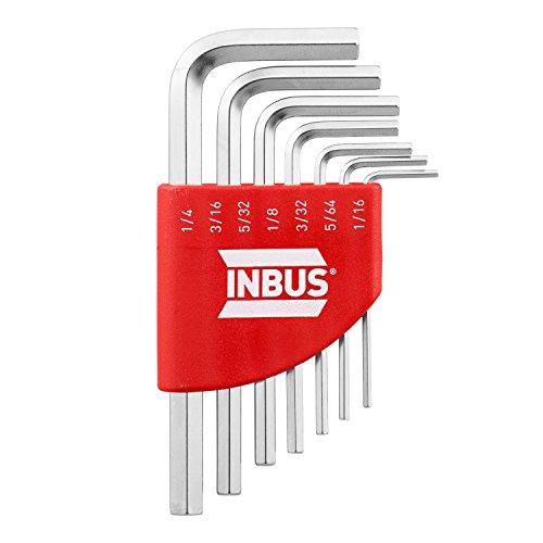 INBUS 70389 Inbusschlüssel Zoll Set Kurz 7tlg. 1/16-1/4' | Made in Germany | Innensechskant-Schlüssel | Winkel-Schlüssel | 1/16 | 5/64 | 3/32 | 1/8 | 5/32 | 3/16 | 1/4 | Inch | Imperial | Kurze Ausführung