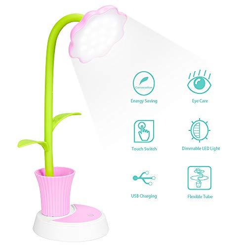 Schreibtischlampe für Kinder, Nasharia LED Schreibtischlampe Dimmbare Nachttischlampe mit Touchsensor, Augenfreundlich Leselampe mit Stifthalter, USB Wiederaufladbare Tischlampme für Kinder (Rosa)
