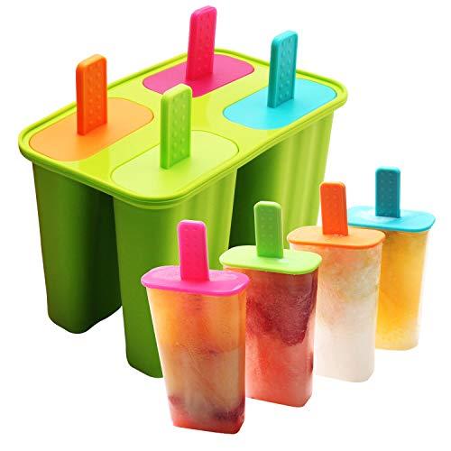 DEHUB Eisformen Silikon, 4 Popsicle Formen Set,BPA Frei EIS am stiel Formen FDA-Zertifiziert Lebensmittelqualität Silikon-EIS-Pop-Hersteller,Ice Lolly Mold mit Sticks und Tropfschutz