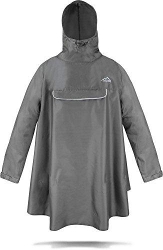 normani Regenponcho mit Ärmeln und Brusttasche für Damen und Herren [S-3XL] -YKK Brusttasche und 3M Scotchlite Reflektor Farbe Grau Größe L/XL