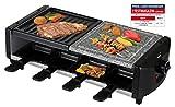 SAVOIE RG83N 2in1 Raclette-Grill/Steingrill für 8 Personen, Partygrill mit Natursteinplatte, zum Grillen und Überbacken (Fleisch, Fisch, Gemüse), Grill Antihaftbeschichtet, 8 Pfännchen, starke 1200W
