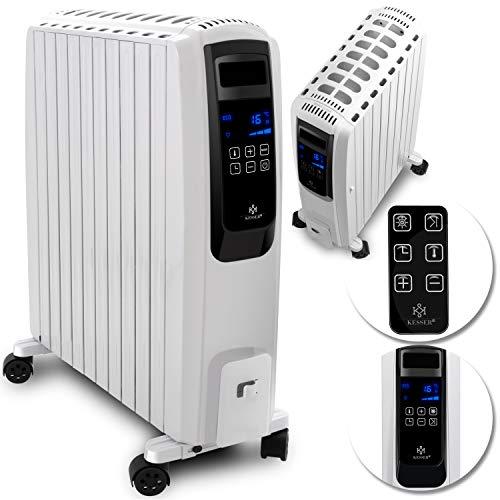 KESSER 2500W Ölradiator mit digitalem Display Fernbedienung - elektrischer, energiesparender Heizkörper mit 10 Rippen, Timer Zeitschaltuhr, 4 Heizstufen, Thermostat, Sicherheitsabschaltfunktion Weiß