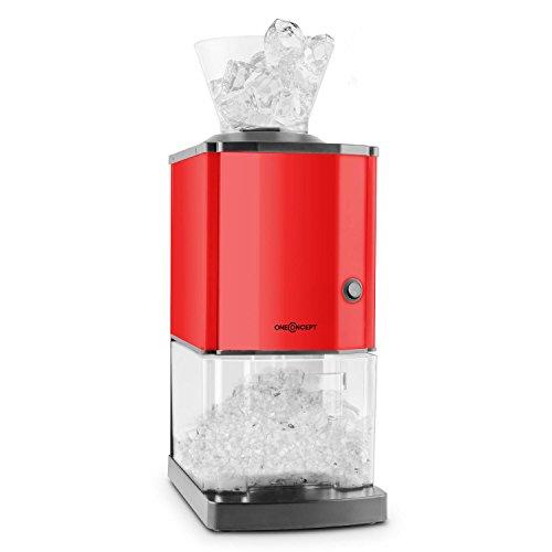oneConcept Icebreaker • Ice Crusher • Eiscrusher • Eiszerkleinerer • 15 kg / h • 3,5 Liter (etwa 1,75 kg) Eisbehälter • aufsetzbarer Einfülltrichter • Sicherheitsschalter • Saugnapffüße • kompakt • einfach zu reinigen • Edelstahlgehäuse • rot