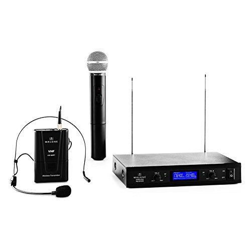Malone VHF-400 Duo 3 • 2-Kanal VHF-Funkmikrofon Set • Funk-Mikrofon System • 1 x kabelloses Handmikrofon • 1 x kabelloses Headset Mikrofon • 50 m Reichweite • lange Batterie-Betriebszeiten´• 1 x Empfänger mit Status-LEDs • Rauschunterdrückung • schwarz