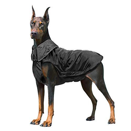 IREENUO Regenmantel Hunde, 100% Wasserdichter Hundemantel Regenjacke, mit Sicherheits Reflex Streifen, Geeignet für Outdoor-Bekleidung Mittlerer und Großer Hunde Schwarz-2XL