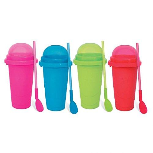 Chillfactor Slusheis Maker / Slush Eis Maschine im 4er Set, BPA-Frei / Lebensmittelecht - Slushymaker in 4 Farben, Eisbecher 240 ml, Wassereis selber machen