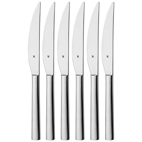 WMF Nuova Steakmesser Set, 6-teilig, spülmaschinengeeignet, L 23 cm, Cromargan Edelstahl poliert