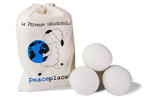 peaceplace 6x Umweltschonende Trocknerbälle Trocknerkugel aus Schafswolle - Der Ideale Ersatz für herkömmliche Tennisbälle für Trockner - Perfekt für Daunenjacken geeignet - Zeit- und kostensparend