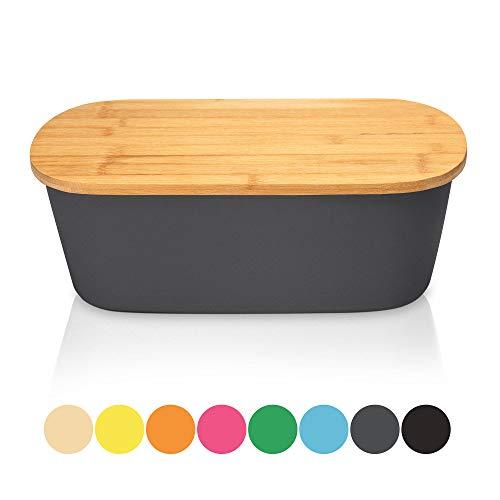 Bambuswald Brotbox mit integriertem Schneidebrett 38x21,5x12 cm - Brotdose | Brotkasten für Croissants, Brot o. Brötchen | Brotbehälter mit Küchenbrett | Brotbrett Grau