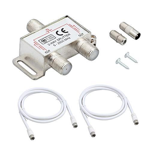 2-Fach TV Radio F-Stecker Adapter Kabel Antennen Verteiler SAT Splitter Metall TV-Verteiler inkl. Adapter + 2 x 1.5m Kabel + 1 x F Stecker auf Koax Stecker + 1 x F Buchse auf Koax Kupplung