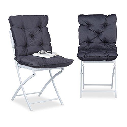 Relaxdays Sitzpolster 2er Set, gepolsterte Sitzkissen m. Rückenteil, bequeme Stuhlauflagen HxBxT: 9 x 46 x 96 cm, grau