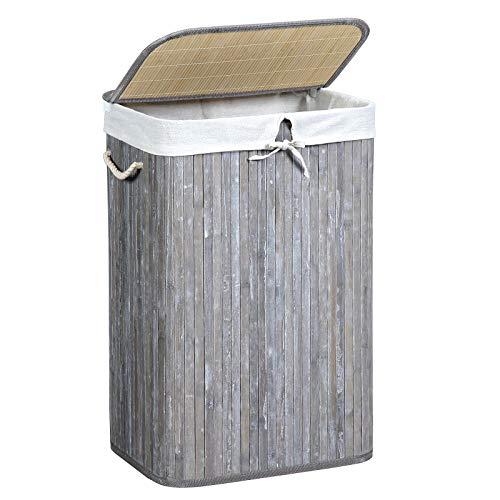 SONGMICS Wäschekorb 72 L, Wäschesammler aus Bambus, Wäschetruhe mit Griffen, Deckel mit Clips, faltbar, Wäschesack herausnehmbar, Vintage, grau LCB11GW
