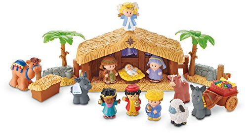 Fisher-Price J2404 - Little People Weihnachtskrippe Geschenkset, mit 12 Figuren und 5 Zubehörteilen, ab 12 Monaten
