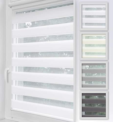 Home-Vision Duo Rollo Klemmfix, Doppelrollo ohne Bohren, Rollos für Fenster & Klemmträger