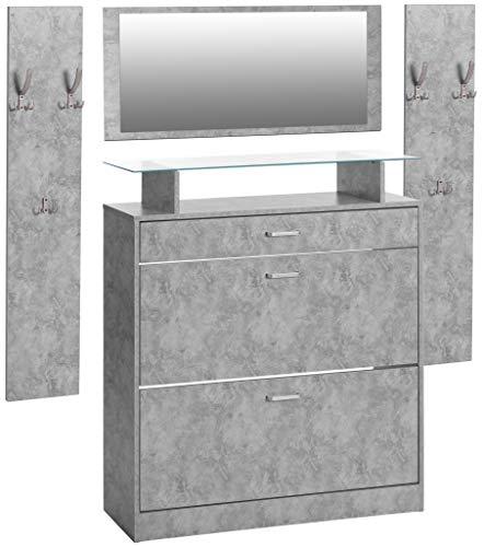 ts-ideen 4er Set Garderobe Spiegel Schuhschrank Schuhkipper 2 Wandpaneele Kleiderhaken Betonoptik