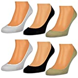 6 Paar Damen Füßlinge Unsichtbare Sneaker Socken Baumwolle Schwarz Weiße Beige - RS 15500 (39-42, 6 Paar | Farbmix)