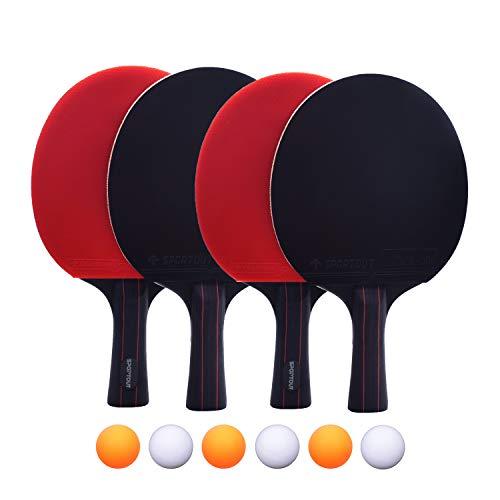 Easy-Room 4 Tischtennis-Schläger und 6 Tischtennis-Bälle, Premium Tischtennis-Set, 4 Tischtennisschläger, Ideal für 4 Spieler
