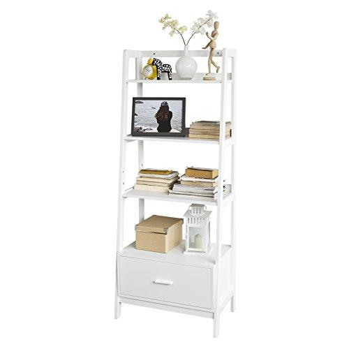 SoBuy Leiterregal,Bücherregal,Standregal,Badregal,mit Ablagen und Schublade in Weiß, B 64cm, FRG116-W