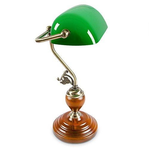 Relaxdays Bankerlampe Holzfuß grün Klassiker Schreibtischlampe – Retro Tischlampe Banker Lampe Messing-Optik & geschwungenen Verzierungen der 30er Jahre – Holz Gals Metall – 26,5 x 43 x 18 cm – E27