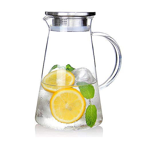 2.0 Liter 70 Unzen Glas Krug karaffe mit Deckel Eistee Krug Wasserkrug Heißes Kaltes Wasser Eistee Wein Kaffee Milch und Saft Getränkekaraffe wasserkaraffe