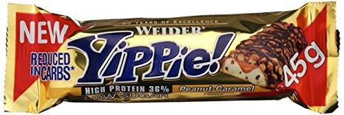 Weider YIPPIE! Bar, Erdnuss-Karamell, 1er Pack (18x 45g Riegel)