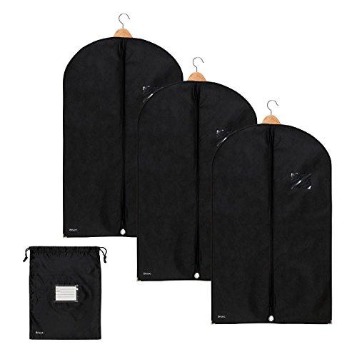 3x Premium Kleidersack von Bruce.   Kostenloser Schuhbeutel   Hochwertige Kleiderhülle für Anzug, Jacke und Kleid   Atmungsaktive Anzugtasche für Reisen und Lagerung   100 x 60 cm   1 Jahr Garantie*